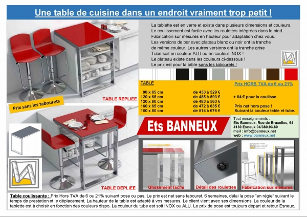 table pour un petite cuisine en vente par ets banneux. Black Bedroom Furniture Sets. Home Design Ideas