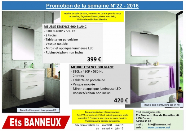 ets banneux promotion meuble salle de bain de la semaine 22. Black Bedroom Furniture Sets. Home Design Ideas