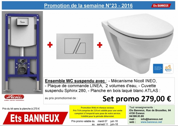 ets banneux promotion de la semaine 23 wc suspendu complet. Black Bedroom Furniture Sets. Home Design Ideas